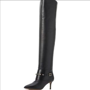 Auth Valentino rockstud boots black leather worn 1